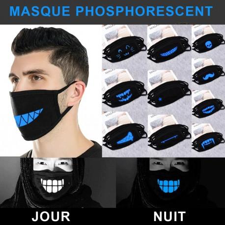 Masque de protection design phosphorescent lumineux reutilisable